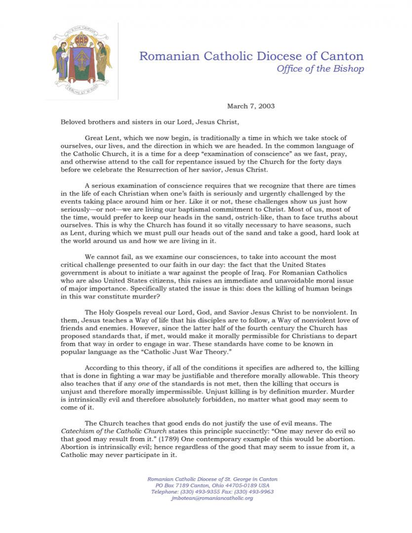 Bishop Botean Pastoral Letter: Rejecting War Against the People of Iraq